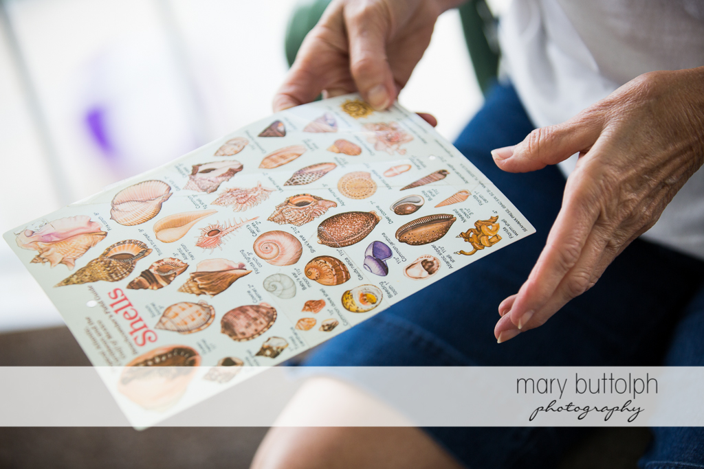 Woman reads seashell chart at Sanibel Island Vacation