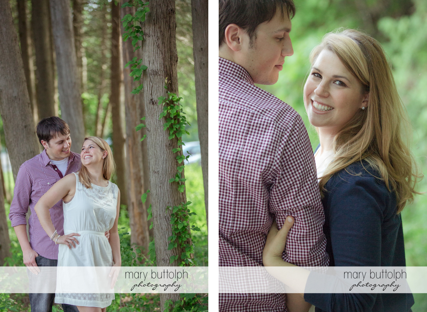 Couple pose near trees at Green Lakes State Park Engagement