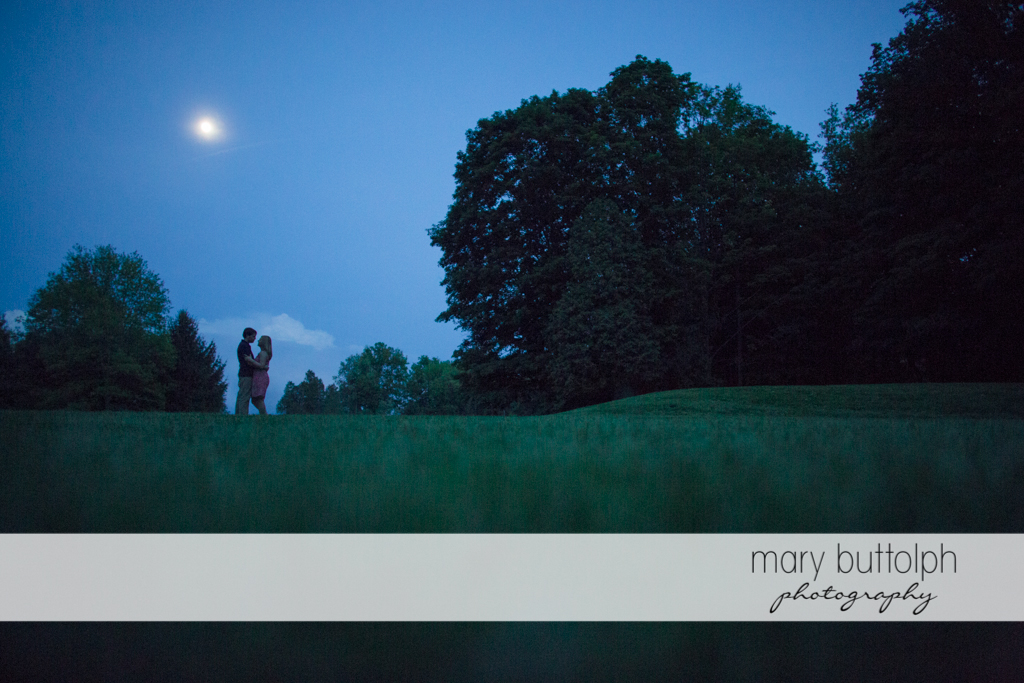 Couple embrace in the park at Green Lakes State Park Engagement