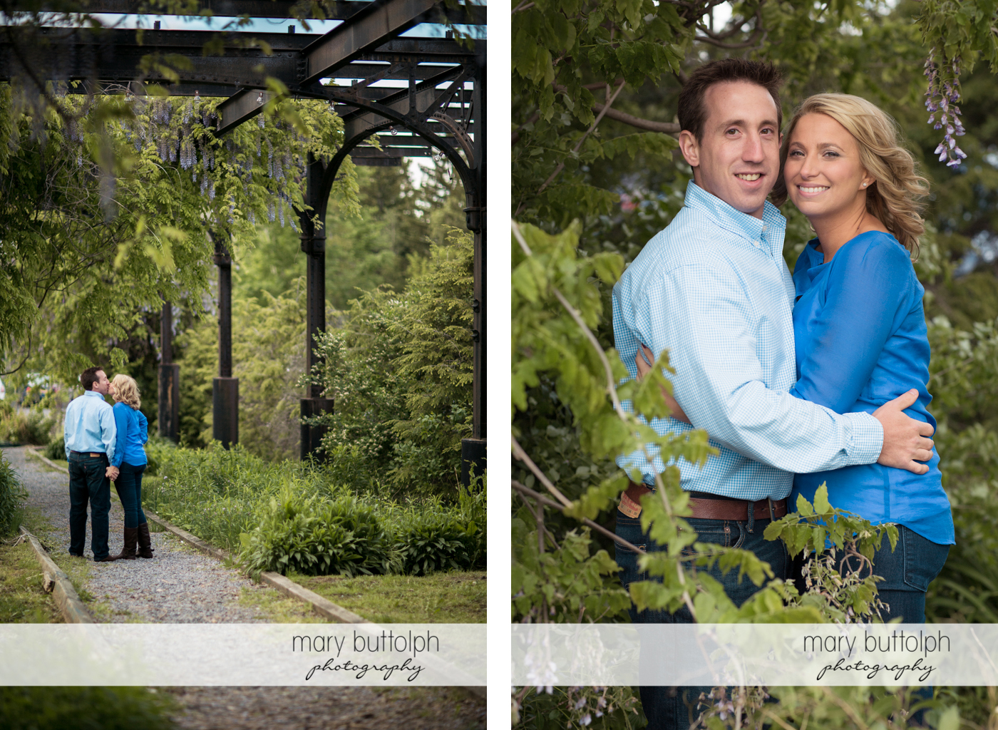 Couple stroll in the garden at Skaneateles Engagement