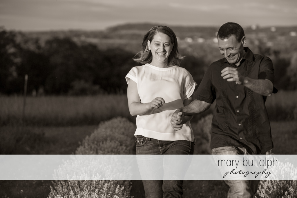 Couple have fun in the field at Lockwood Lavender Farm Engagement