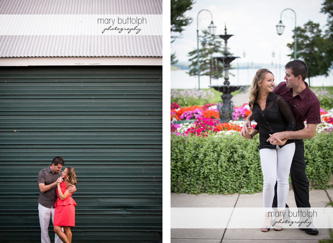 Couple stand in front of a corrugated metal sliding door and near the fountain at Emerson Park Engagement
