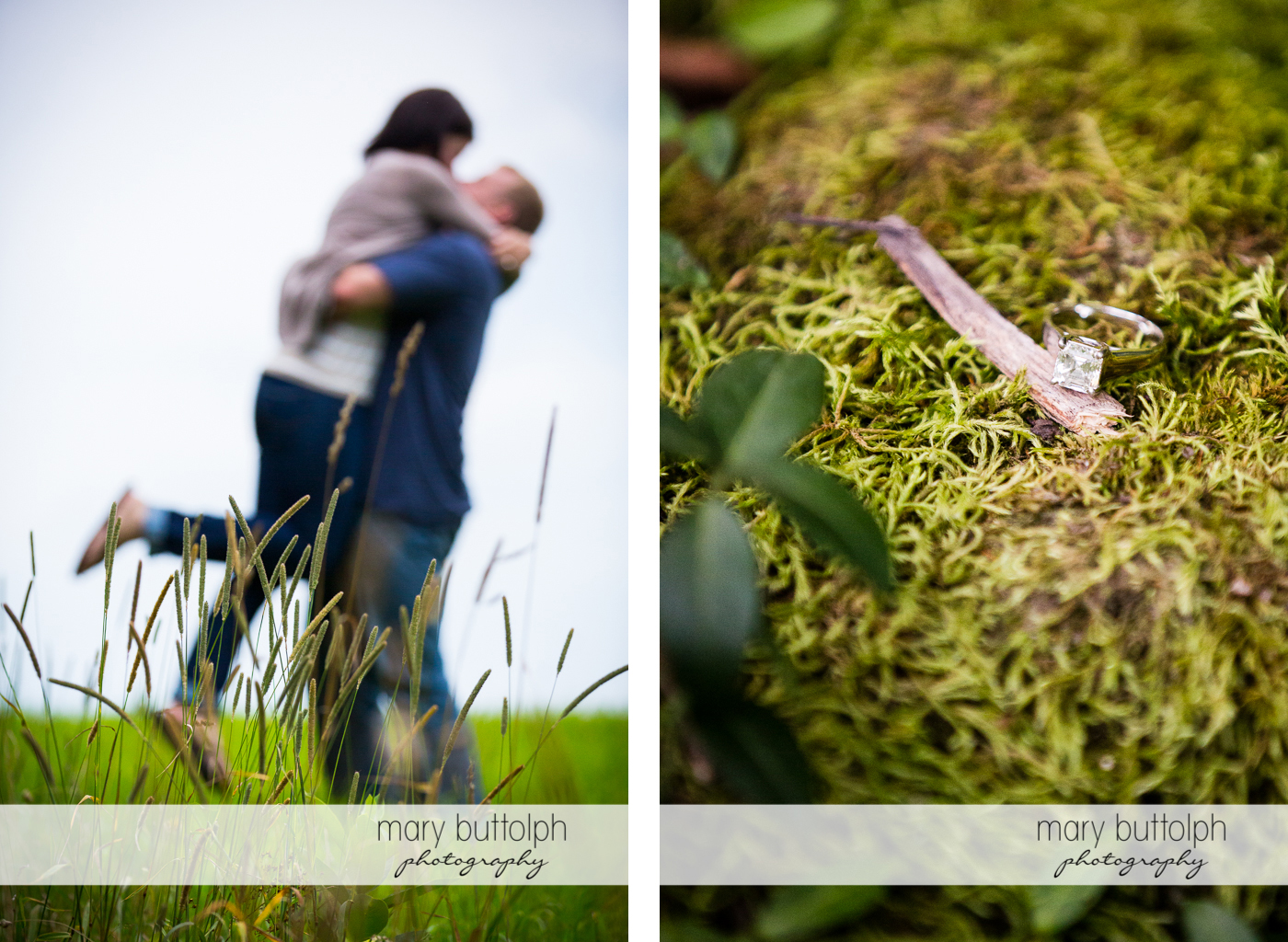 Man lifts woman in the field while her engagement ring sits on the grass at Skaneateles Farm Engagement