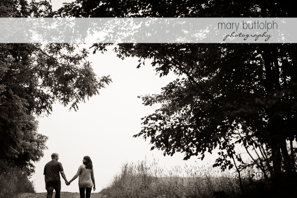 Couple walk hand in hand near the trees at Skaneateles Farm Engagement