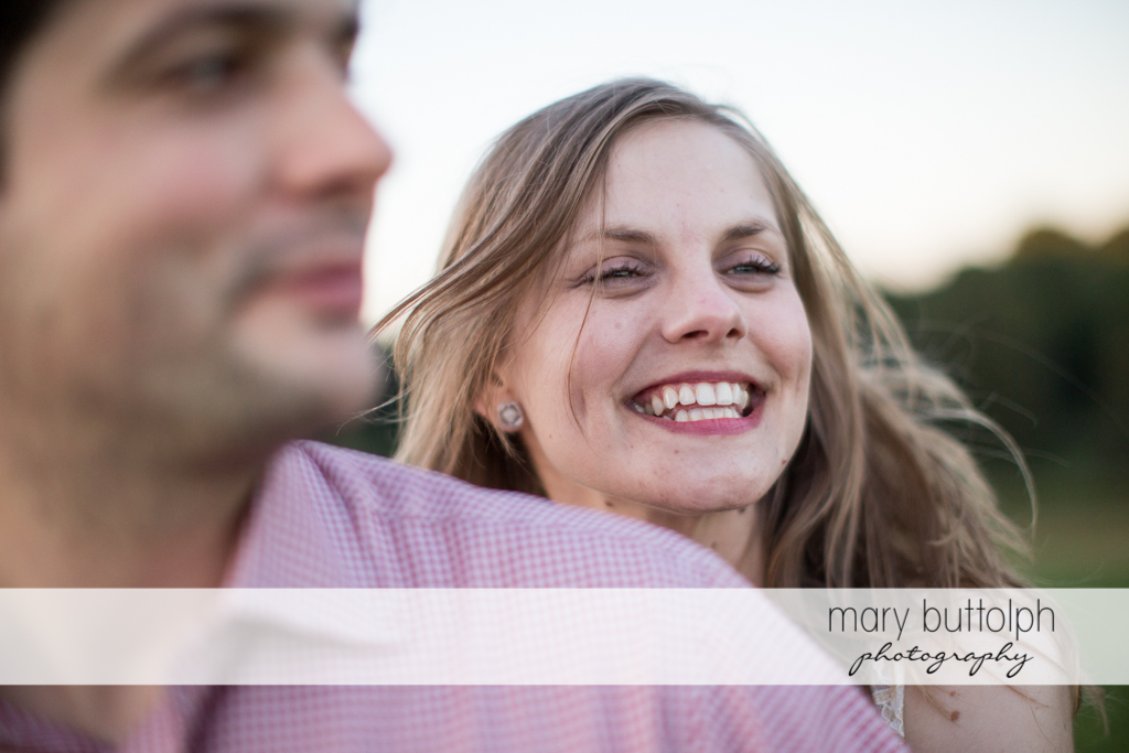 Close up shot of couple in a happy mood at Skaneateles Engagement