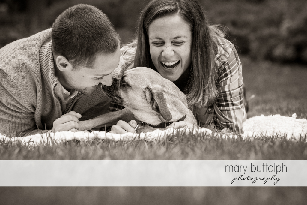 Couple can't get enough of their pet dog at Syracuse University Engagement