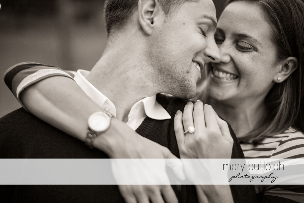 Couple in a dramatic black and white shot at Syracuse University Engagement