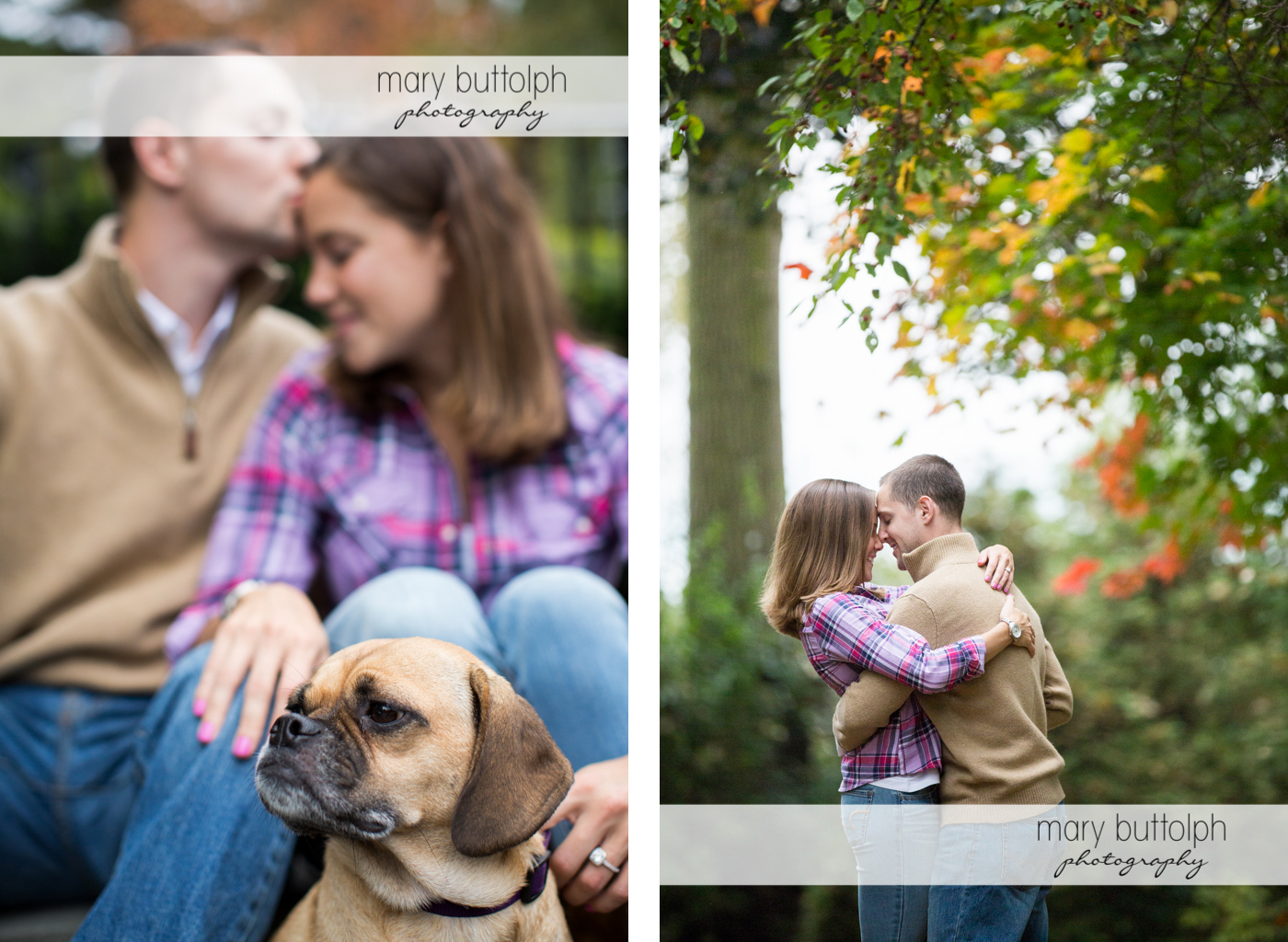 Couple relax with their pet dog and later embrace in the garden at Syracuse University Engagement