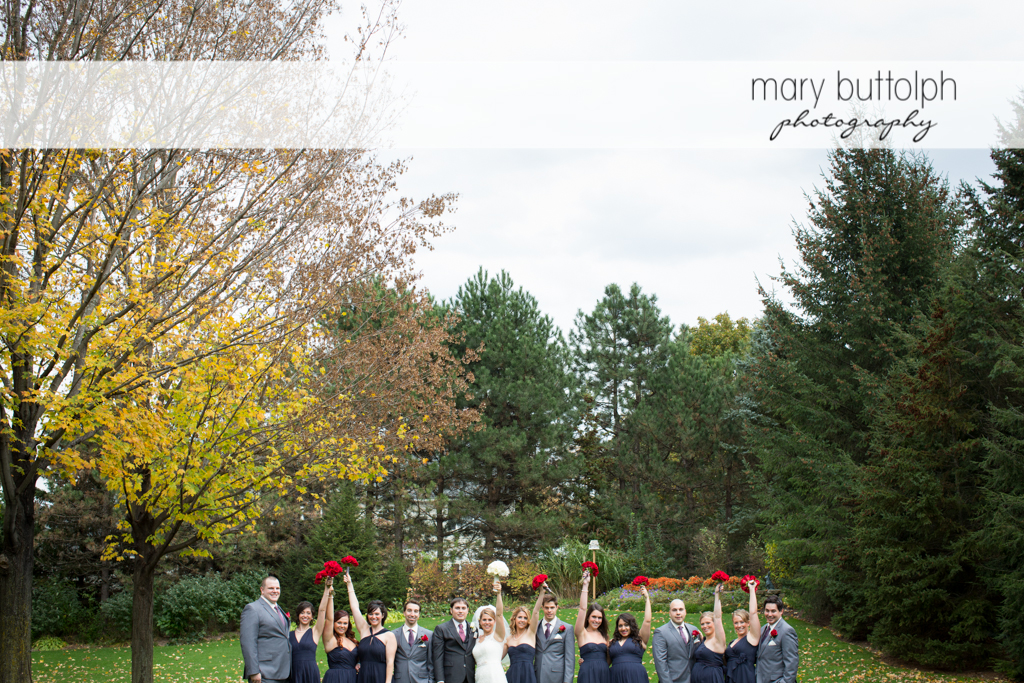 The wedding party surrounded by trees at Traditions at the Links Wedding