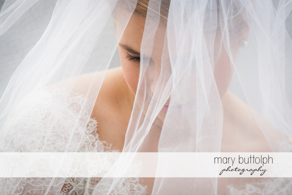 Close up shot of veiled bride at Traditions at the Links Wedding