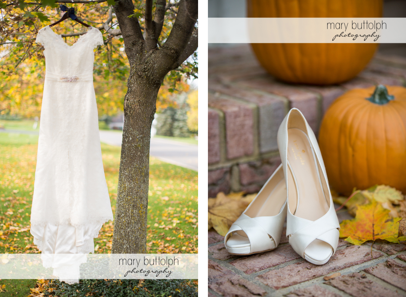 Bride's wedding dress hangs from a tree while her wedding shoes are near pumpkins at Traditions at the Links Wedding