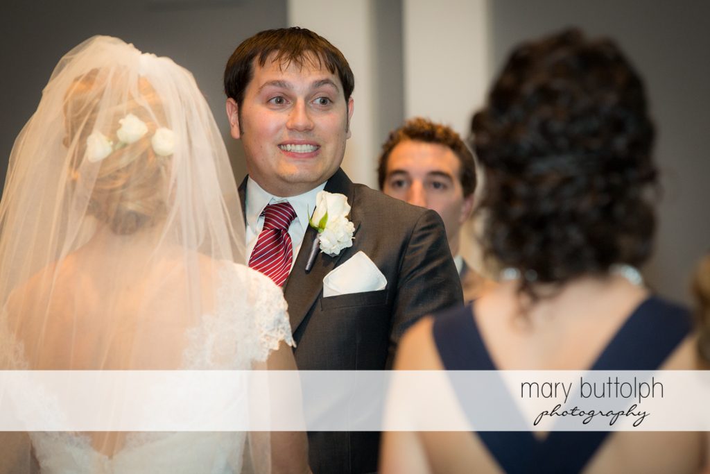Smiling groom with his briude at Traditions at the Links Wedding