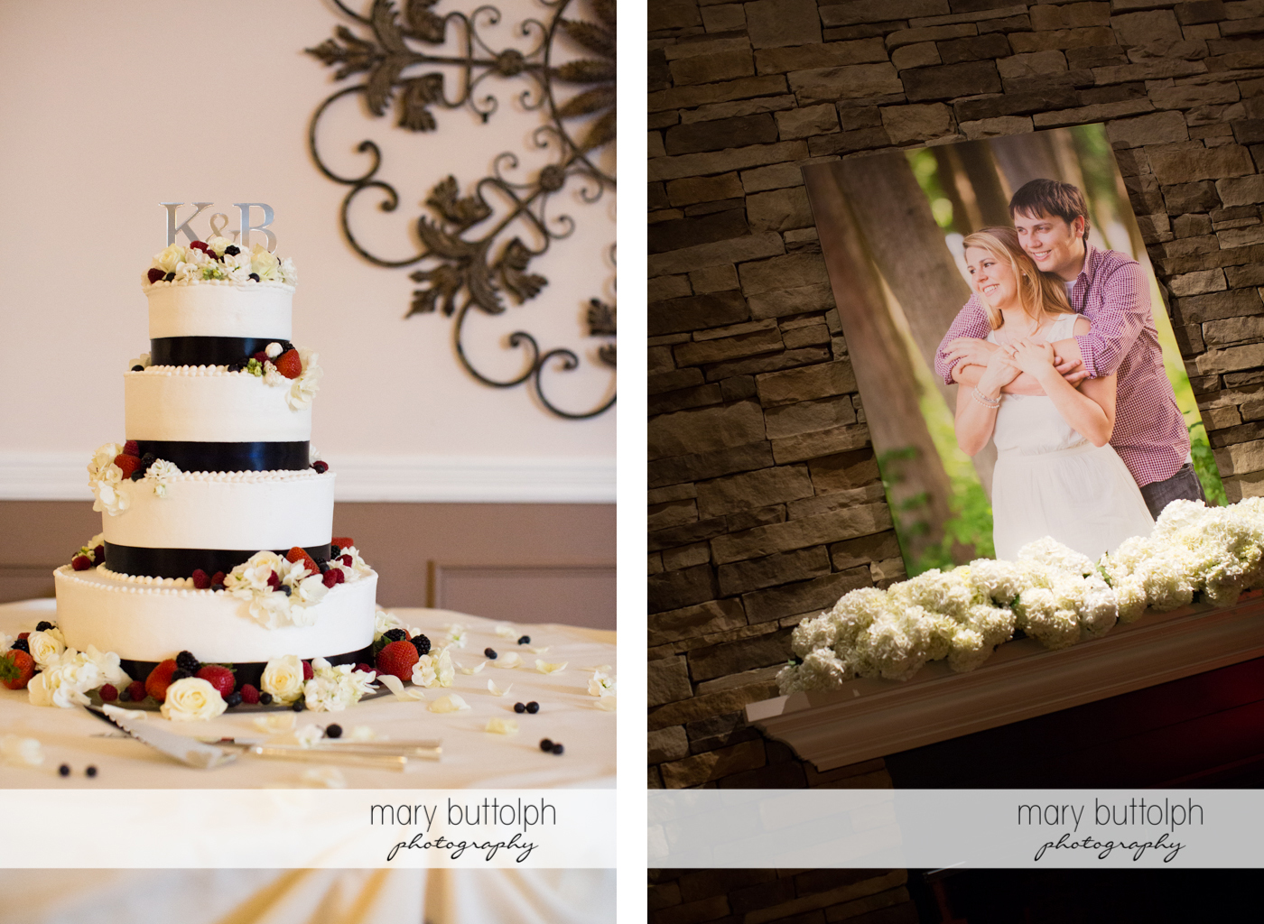 Couple's wedding cake and their photo at Traditions at the Links Wedding