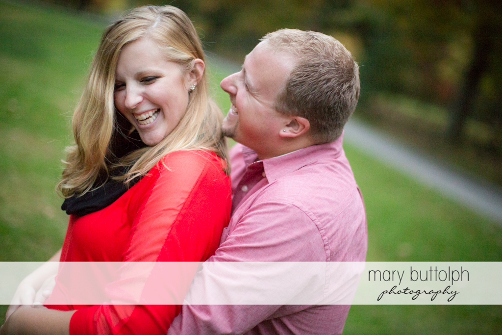 Couple find time for themselves in the woods at Watkins Glen Engagement