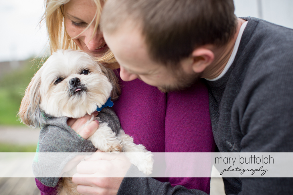 Couple enjoy the company of their pet dog at Beak & Skiff Apple Orchards Engagement
