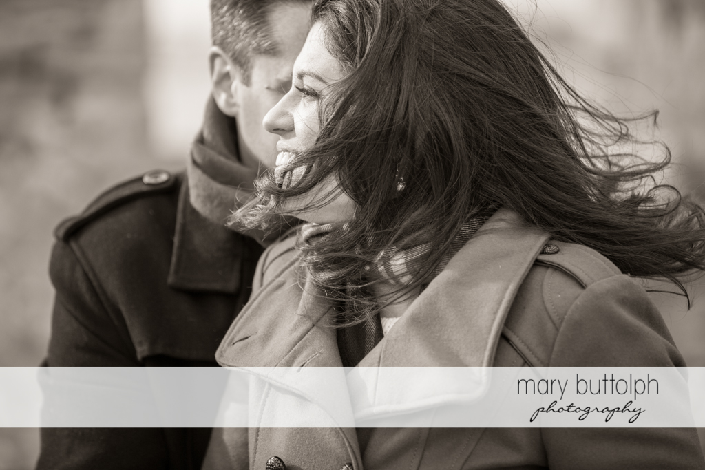 Couple in a great black and white shot at the Aurora Inn Engagement