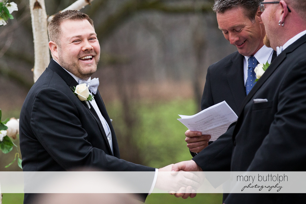 Same sex couple congratulate each other after the wedding at Arrowhead Lodge Wedding