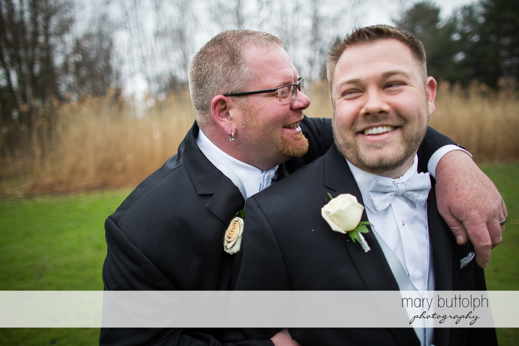 Same sex couple in a happy mood at Arrowhead Lodge Wedding