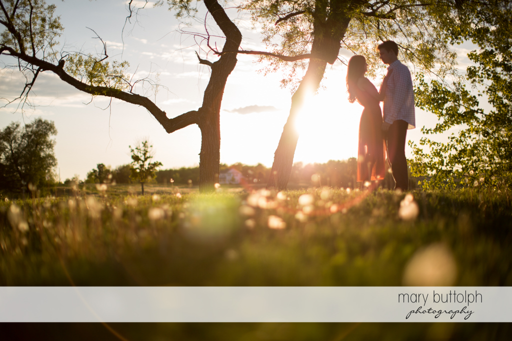 Couple pose in the garden near the lake at Skaneateles Engagement