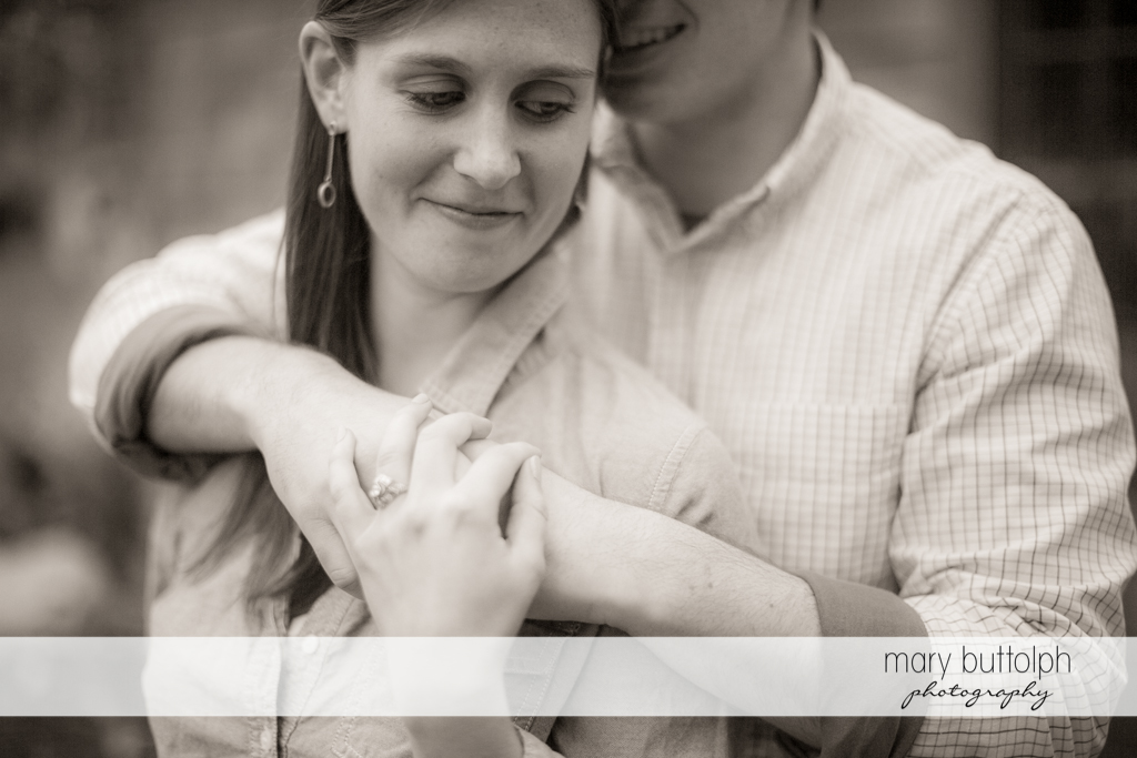 Couple pose for this great black and white shot at the Hamilton Inn Engagement