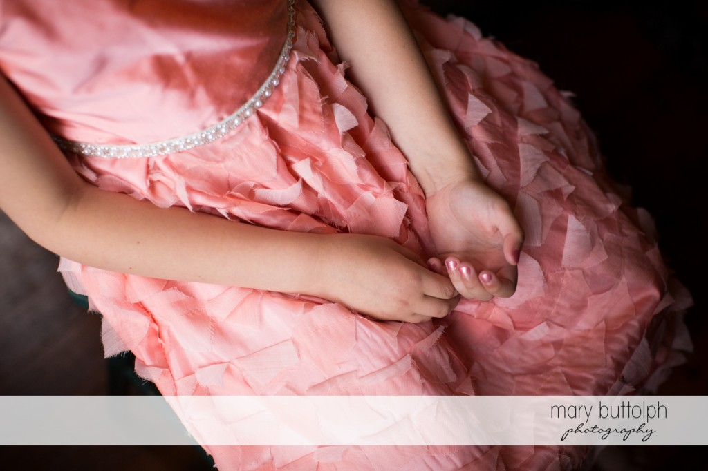 Young girl shows her manicured nails at Skaneateles Country Club Wedding