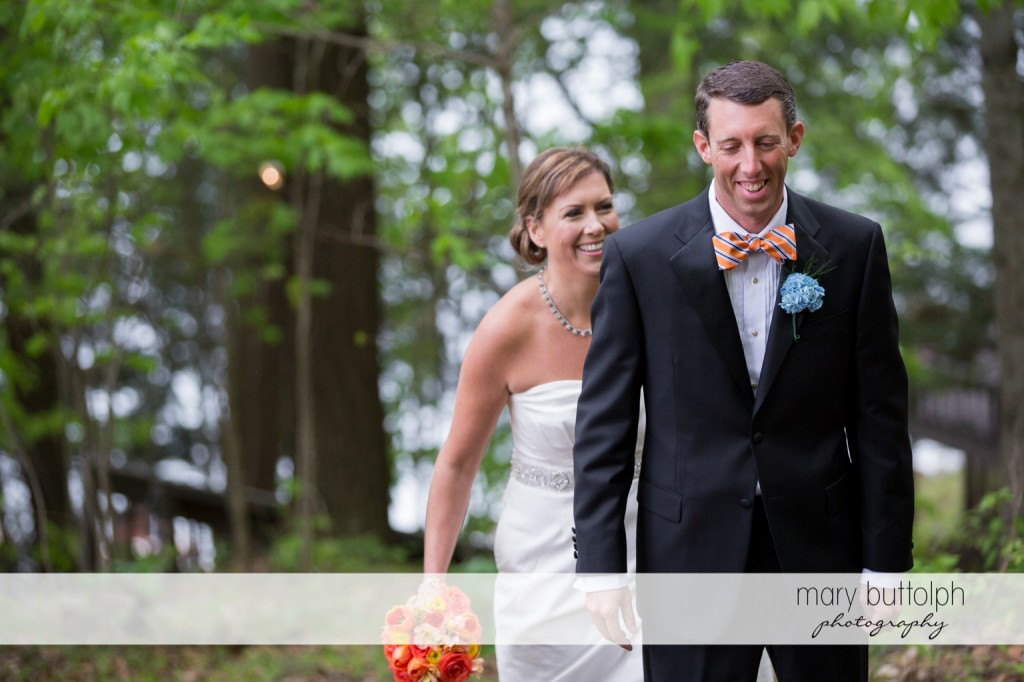 Couple in the woods at Skaneateles Country Club Wedding