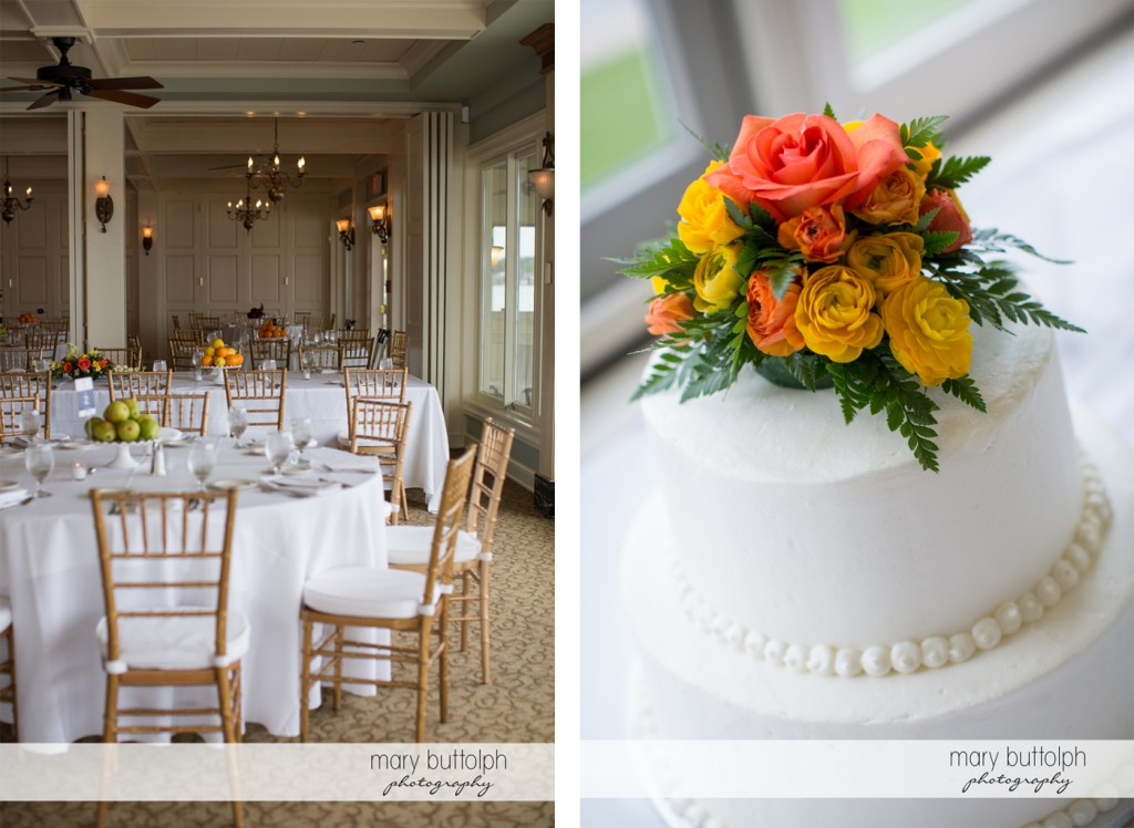 The wedding venue and the couple's cake at Skaneateles Country Club Wedding