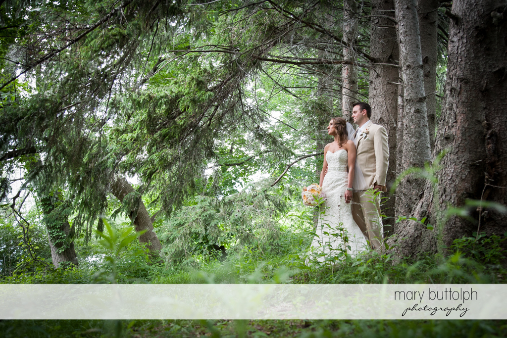 Couple in the woods at the Inns of Aurora Wedding