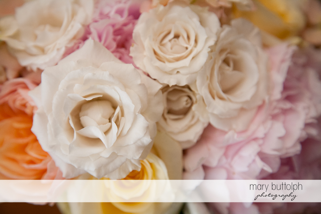 Close up shot of beautiful bouquet at the Inns of Aurora Wedding