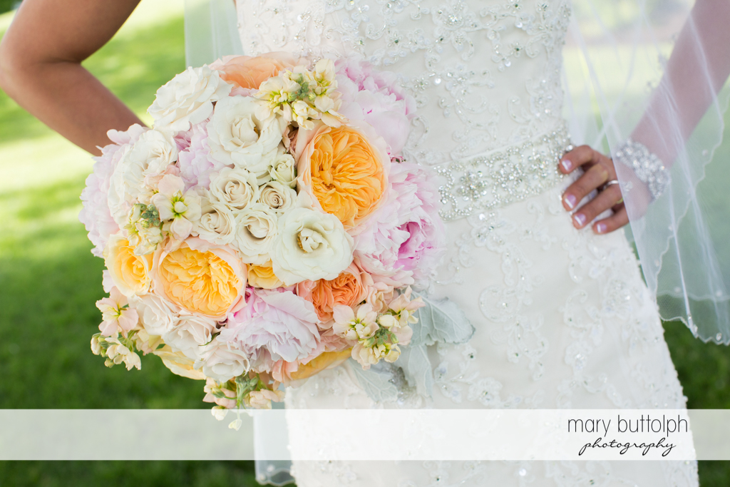 Close up shot of bride's bouquet at the Inns of Aurora Wedding