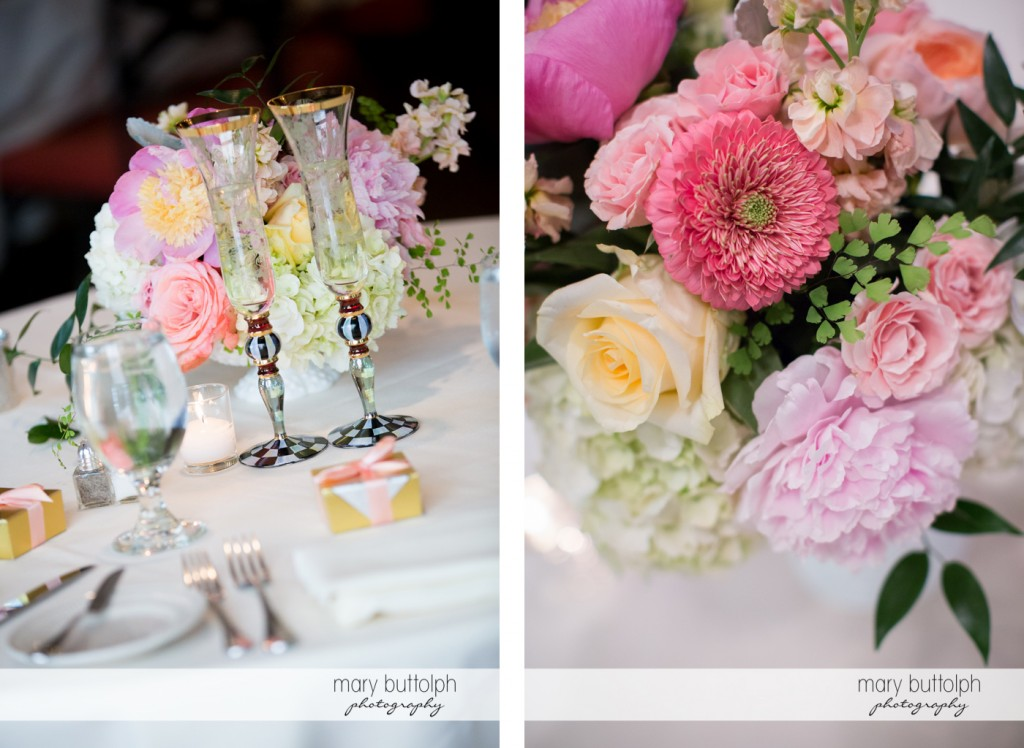 Beautiful bouquets at the wedding venue at the Inns of Aurora Wedding