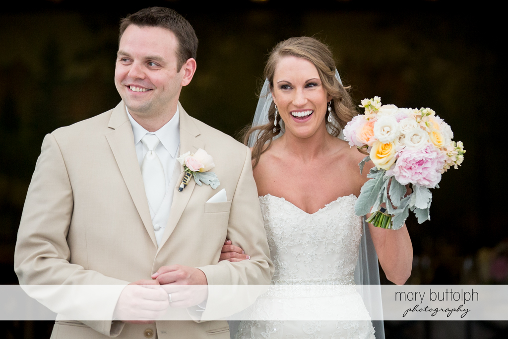 Couple in a happy mood at the Inns of Aurora Wedding
