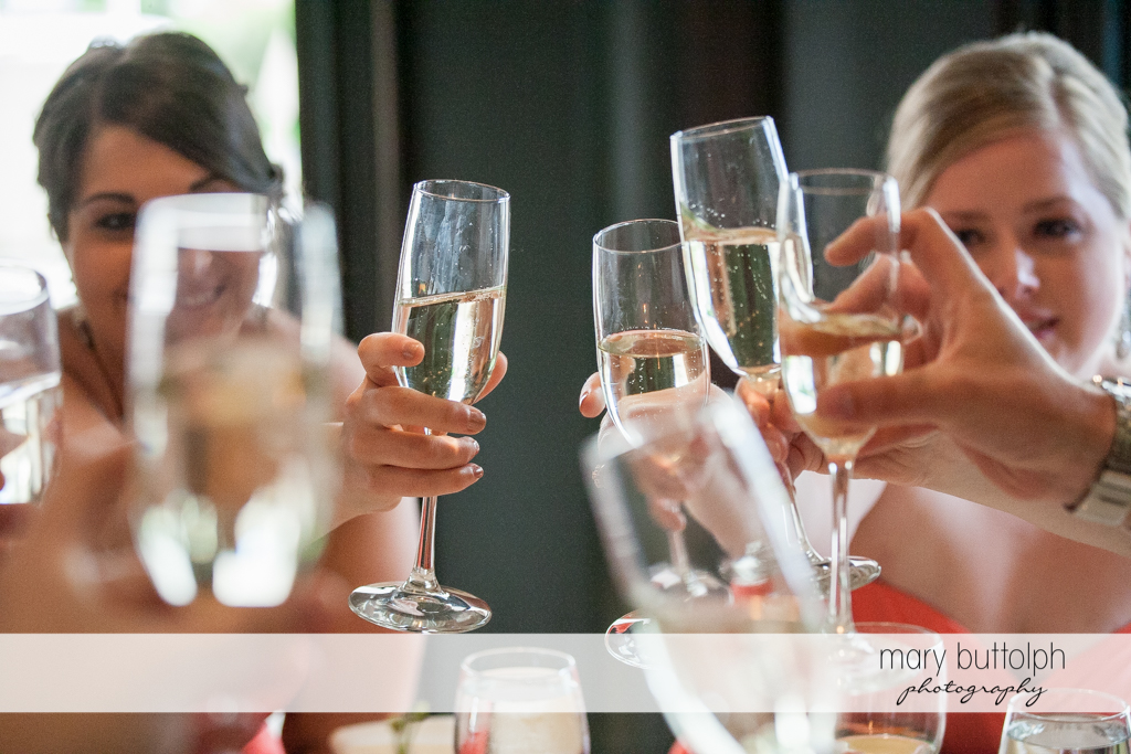 Guests toast to the good times at the Inns of Aurora Wedding