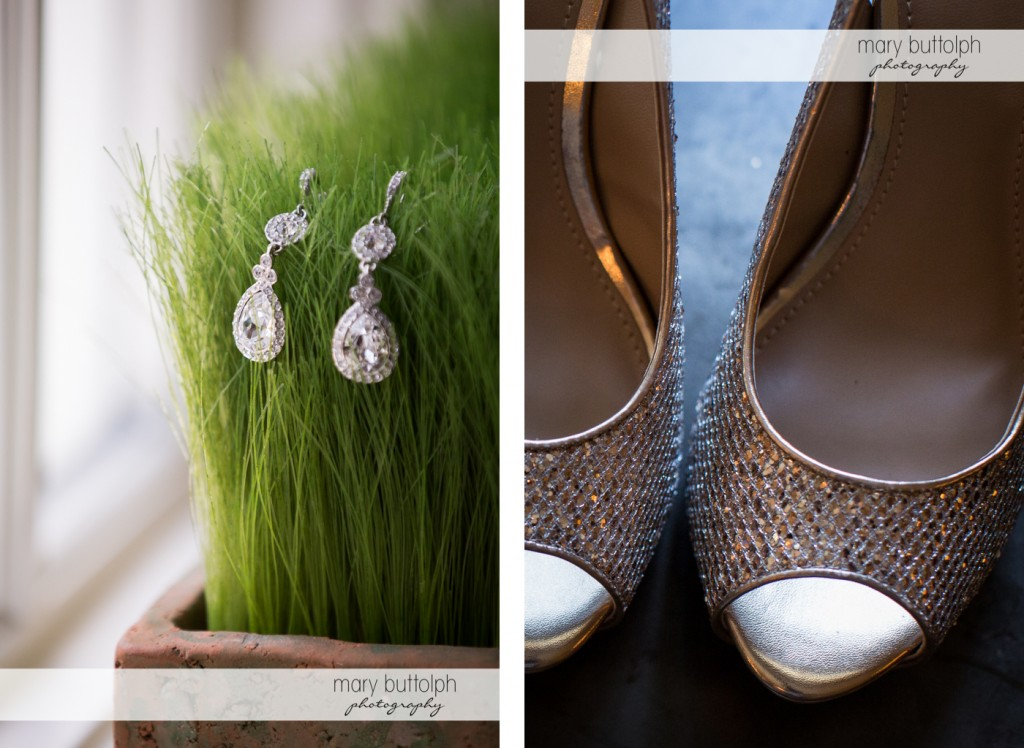 Close up shots of bride's earrings and wedding shoes at the Inns of Aurora Wedding