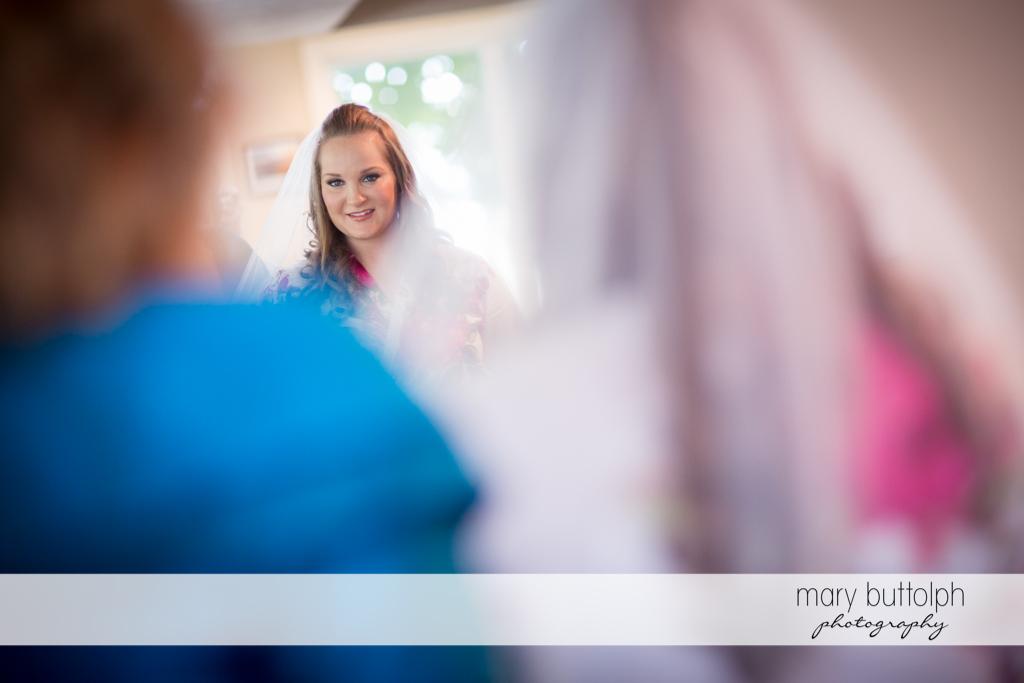 Over the shoulder shot of the pretty bride at Emerson Park Pavilion Wedding