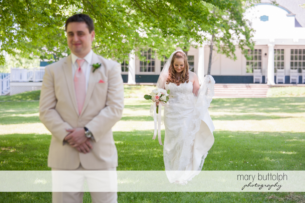 Couple in the garden at Emerson Park Pavilion Wedding