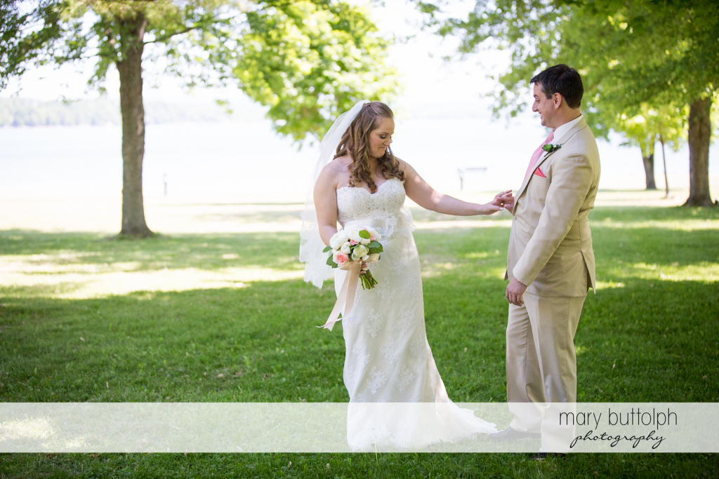 Couple have a good time in the garden at Emerson Park Pavilion Wedding