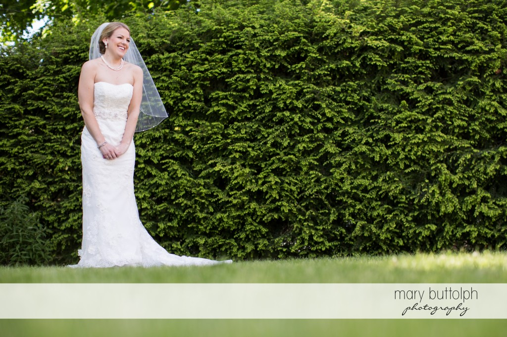 Beautiful bride in the garden at Emerson Park Pavilion Wedding