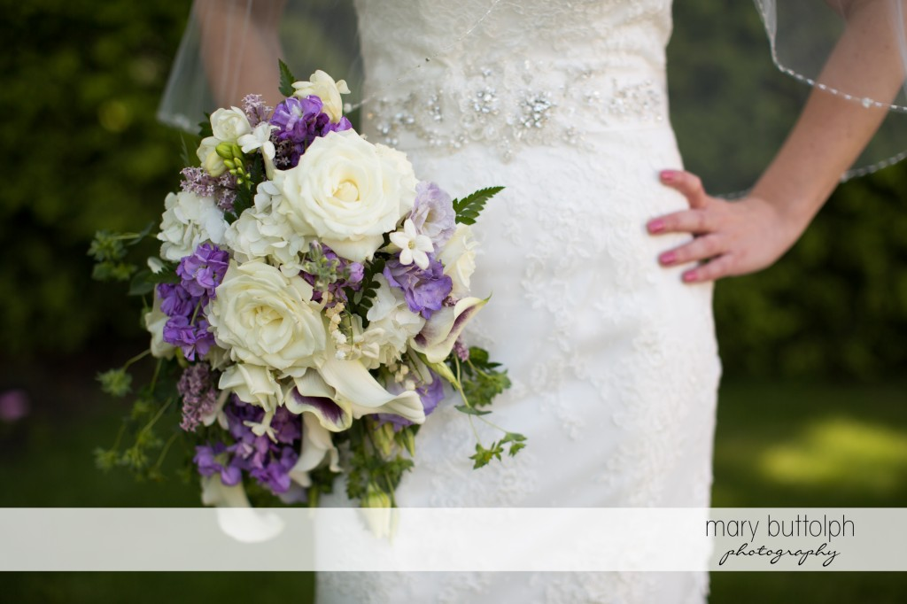 Medium shot of the bride and her lovely bouquet at Emerson Park Pavilion Wedding