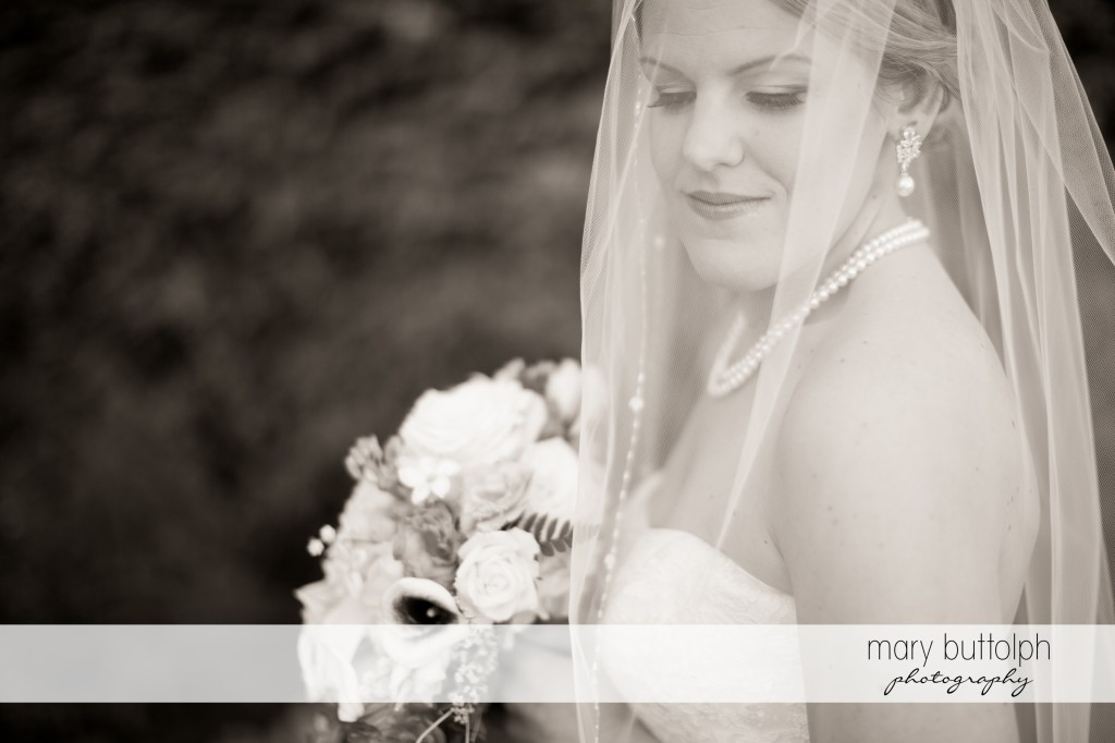 Veiled bride with bouquet in white wedding dress at Emerson Park Pavilion Wedding