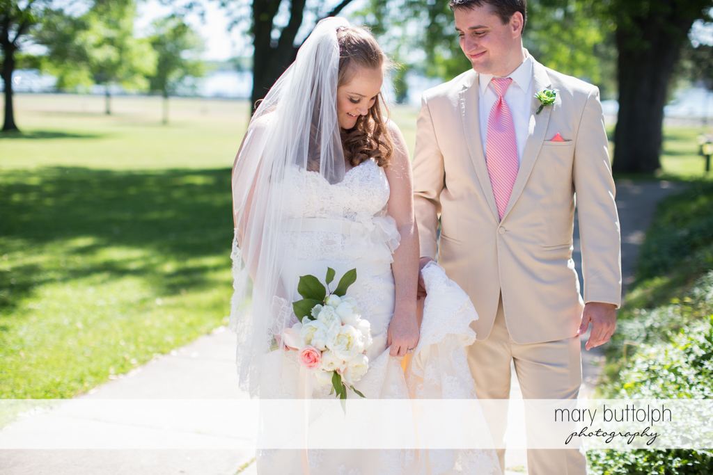 Couple spend a quiet time in the garden at Emerson Park Pavilion Wedding