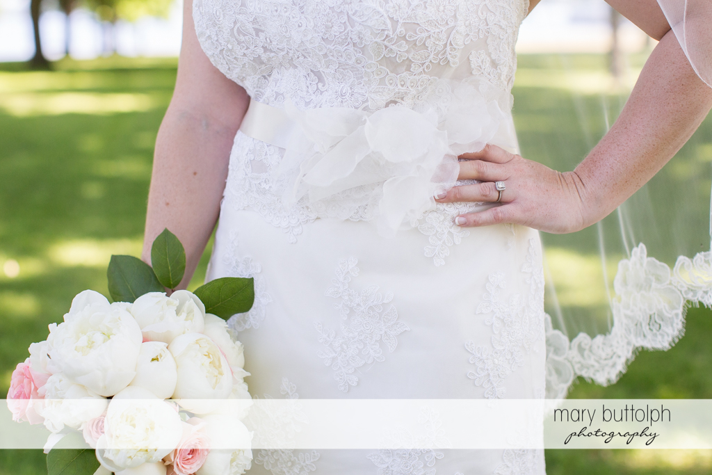 Medium shot of the bride and her bouquet at Emerson Park Pavilion Wedding