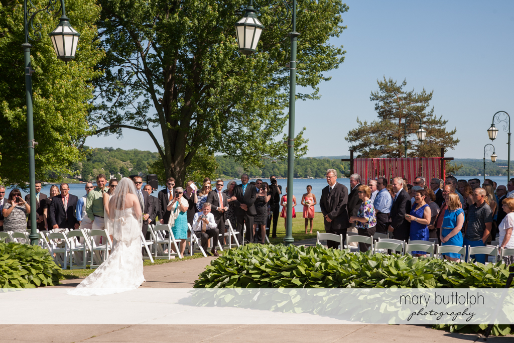 The bride and her guests at the garden wedding at Emerson Park Pavilion Wedding