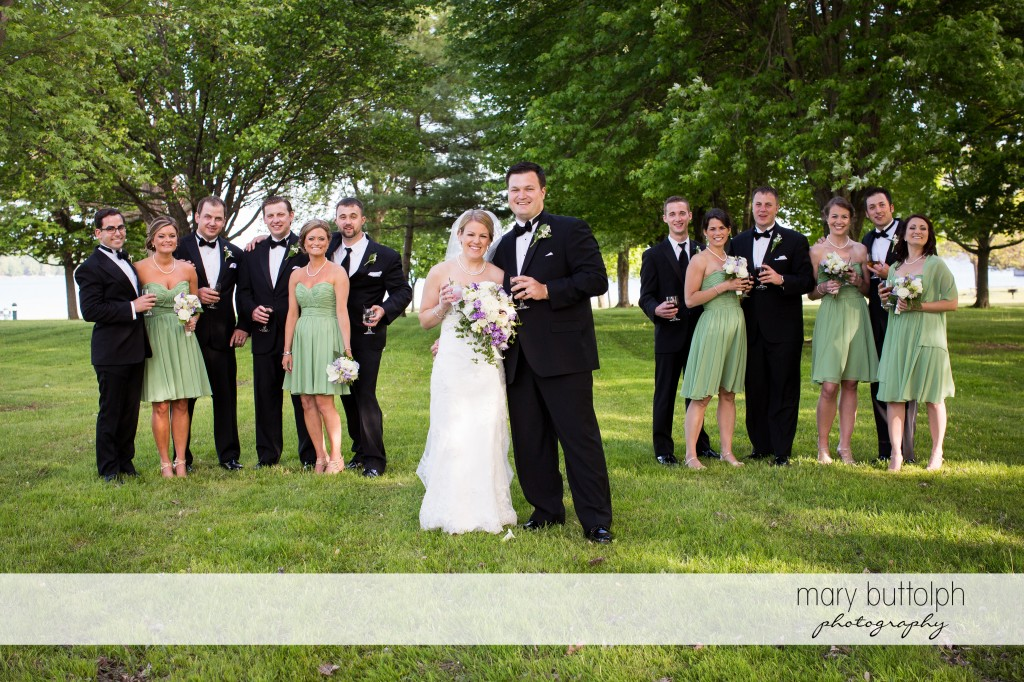 The wedding party in the garden at Emerson Park Pavilion Wedding