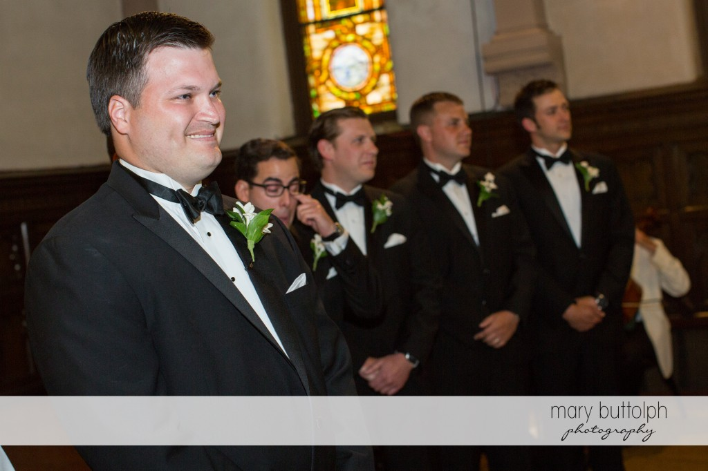 Groom and his groomsmen wait for the bride at Emerson Park Pavilion Wedding