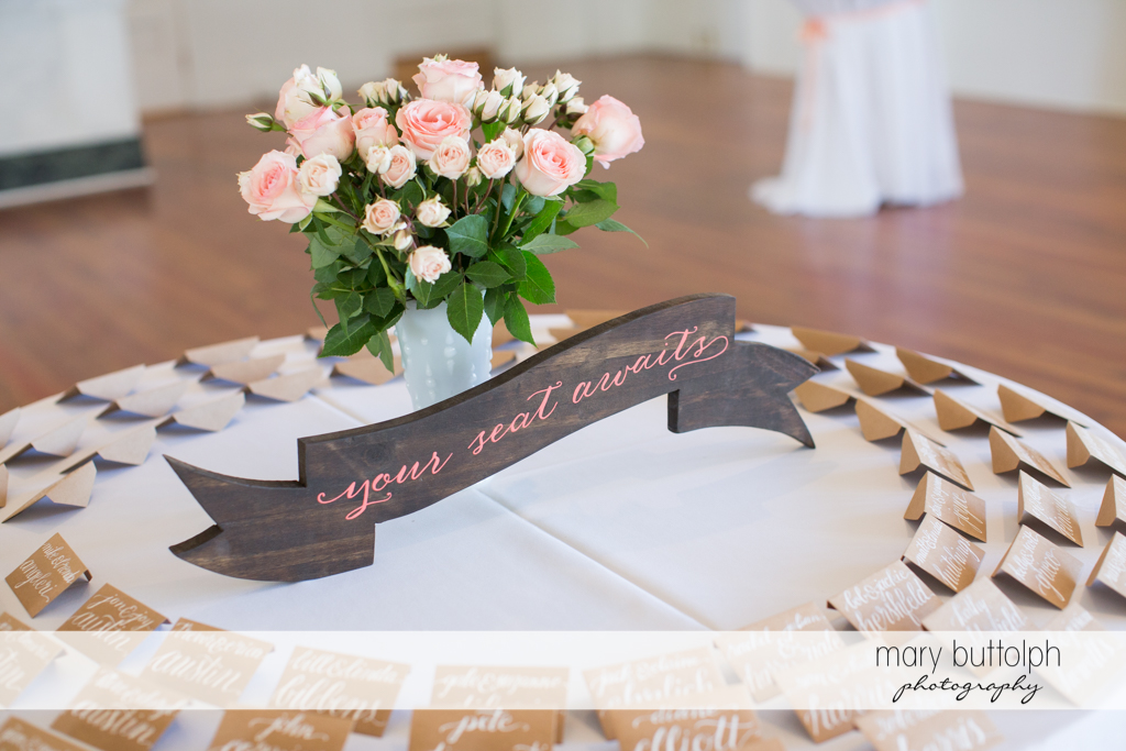 Wedding escort cards for guests at Emerson Park Pavilion Wedding