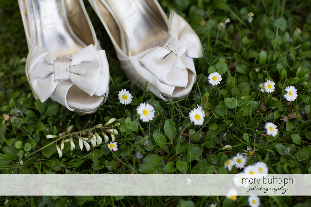 Bride's wedding shoes and some daisies at Emerson Park Pavilion Wedding