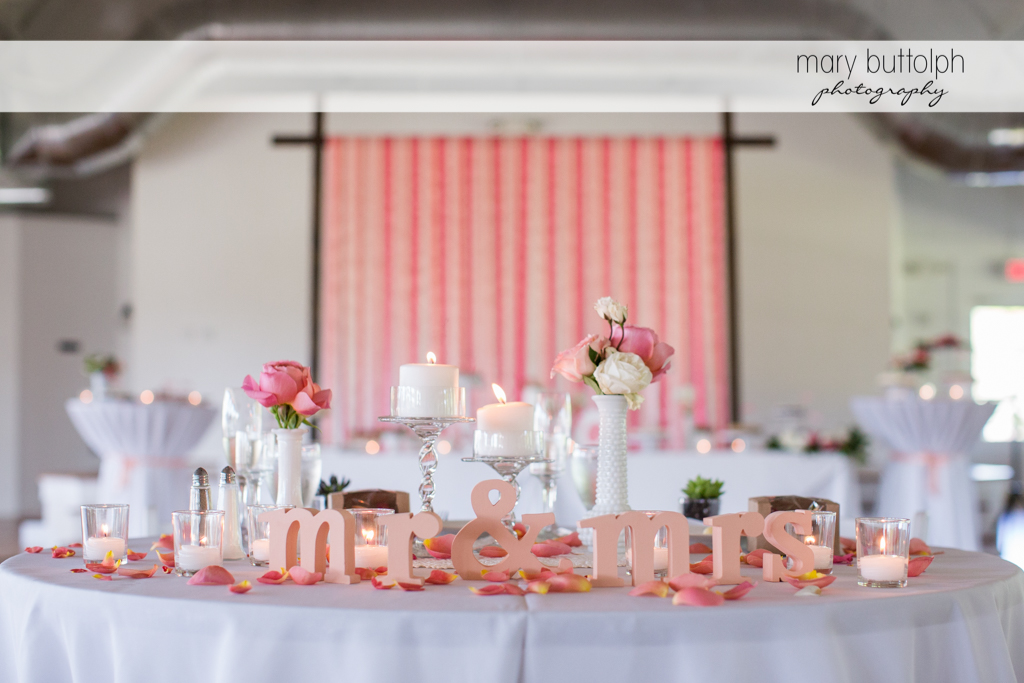 The couple's table at Emerson Park Pavilion Wedding