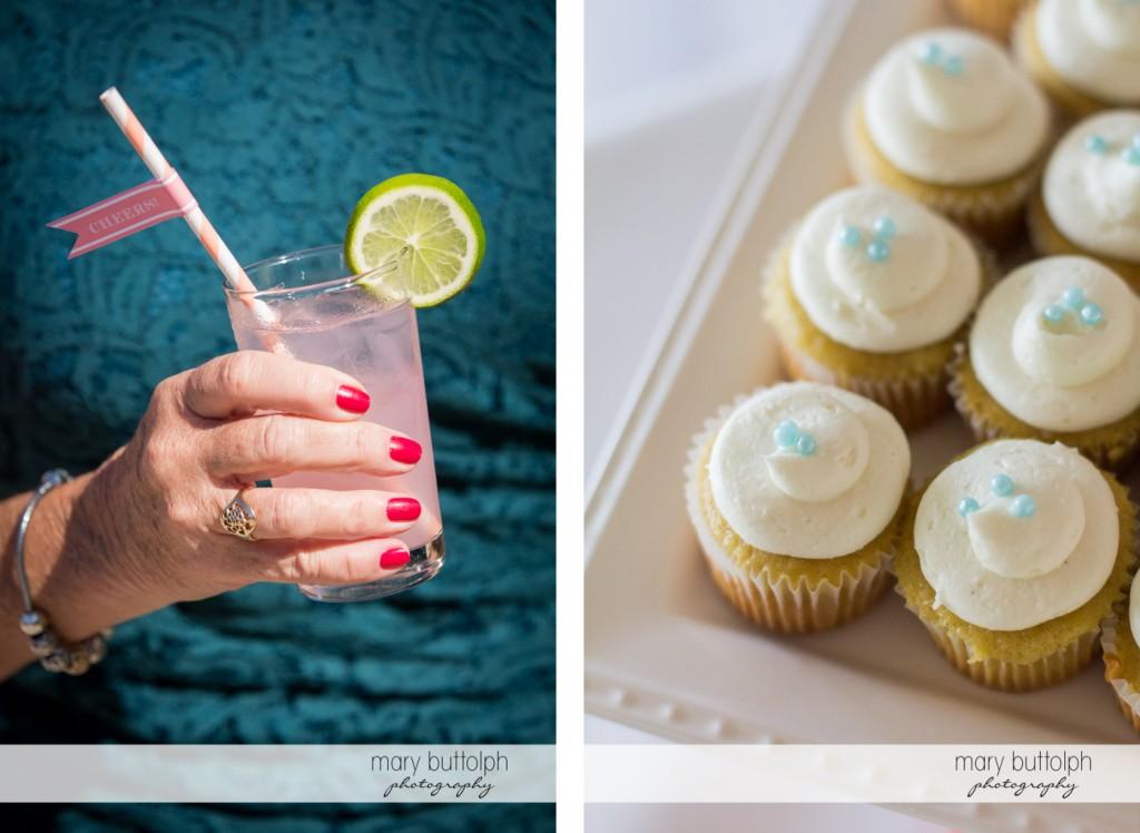Pink lemonade and cupcakes at the wedding venue at Emerson Park Pavilion Wedding