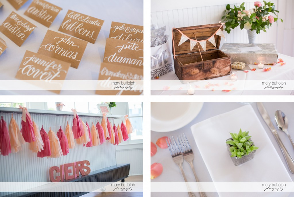 Different shots of the wedding decor at Emerson Park Pavilion Wedding